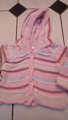Pretty Pink Marks and Spencers Knitted Girls Cardigan 0- 3 months
