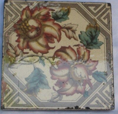 Period English Tile Pretty Exotic Flower Aesthetic Design