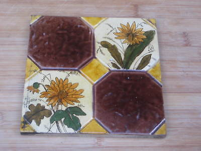 Pretty English Period Tile Colourful Flowers Design