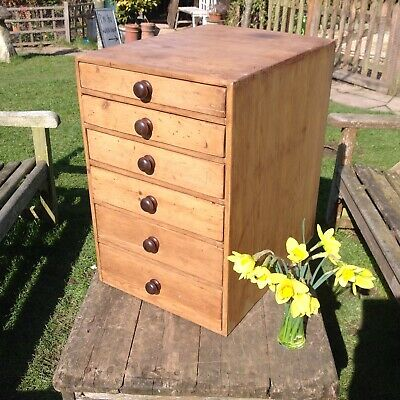 Antique Pine Nest of Collectors Drawers
