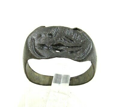 Authentic Medieval Viking Era Decorated Bronze Ring W/ Figure - J3