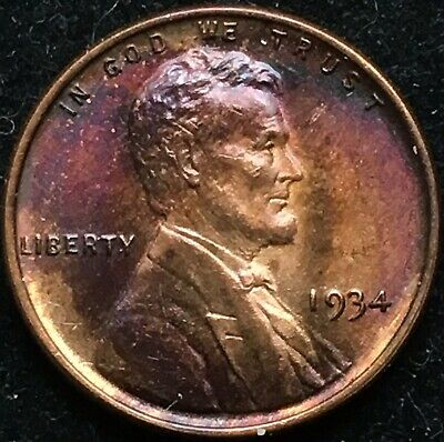 Beautiful Choice BU 1934 Lincoln Wheat Cent. High Grade Toner! Great Color