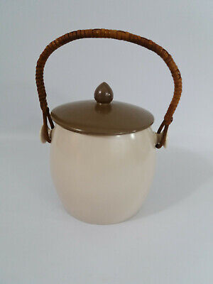 Vintage 1950's Poole Pottery Twin Tone Mushroom & Sepia Biscuit Barrel