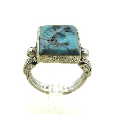 Authentic Post Medieval Era Silver Ring W/ Intaglio Stone Bust - J8