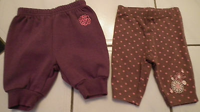 Two pairs of Girls leggings and tracksuit bottoms  Newborn