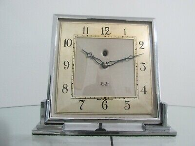 Genuine Art Deco Chrome Smiths Electric Mantel Clock 1930s Working