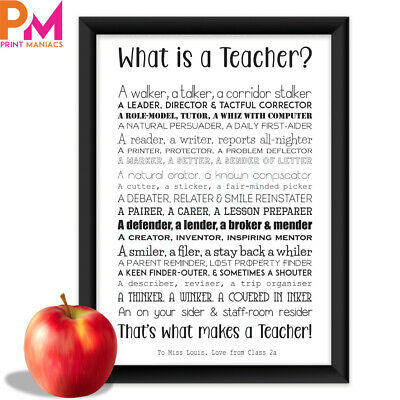 Personalised Best Teacher Leaving Present Poem Thank You Gift Gifts Keepsake A4
