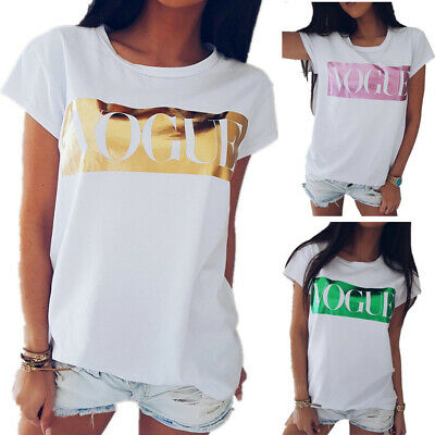 Girls Womens Vogue Loose Tops Blouse T Shirt Tee Summer Plus Size Clothes