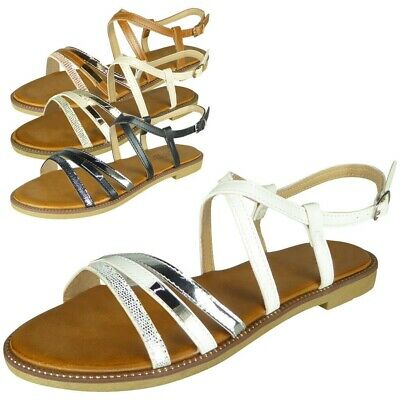 Womens Strappy Comfy Flat Summer Peeptoe New Ladies Gladiator Sandals Shoes Size