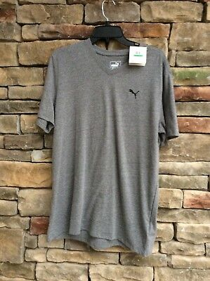 3b8b20d15de PUMA V-Neck T-Shirt Gray Heather Dry Cell Men's Size Large Cotton New