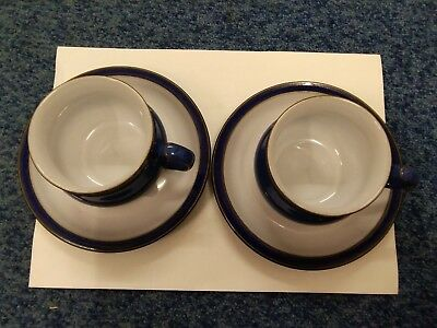 2 X Denby IMPERIAL BLUE Cup And Saucers