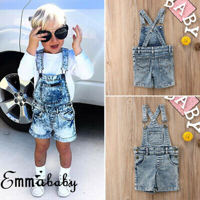 Toddler Baby Girl Boys Denim Bib Pants Romper Shorts Overalls Outfits Clothes
