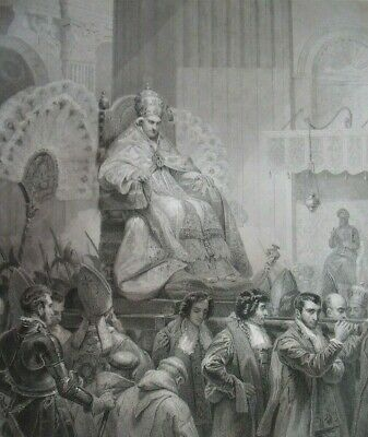 Pope Pius VIII in St Peter's Basilica in Rome ...Antique engraving...1842