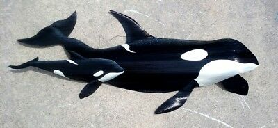 Orca Killer Whales hand carved painted palm tree fronds animal sea life wall art