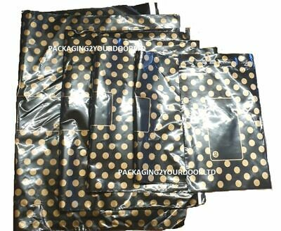Black With Gold Polka Dot Mixed Sizes Mailing SAMPLE BAGS