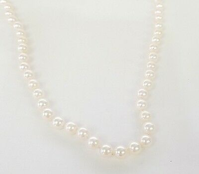 """* 585 14K 14Kt White Gold Filigree Clasp 5.5Mm Cultured Pearl 16"""" Long Necklace"""