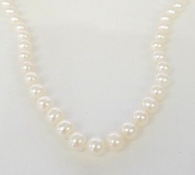 """* 585 14K 14Kt White Gold Filigree Clasp 6.5Mm Cultured Pearl 16"""" Long Necklace"""