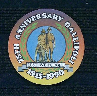 Collectable Beer Coaster, 75th Anniversary Gallipoli - Wauchope RSL Club