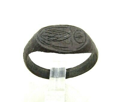 Authentic Medieval Viking Era Decorated Bronze Ring - J23