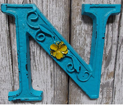 """Blue Cast Iron Wall Letter """"N"""" Retro Art 6"""" Vintage Style Marquee"""