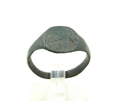 Authentic Medieval Viking Ring W/ Runic Decoration - Wearable - J24
