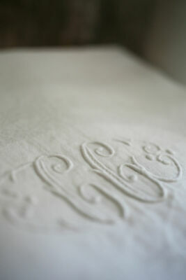 Antique French DAMASK embroidered LINEN tablecloth CG mono c1900