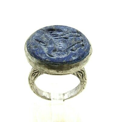 Authentic Post Medieval Era Silver Ring W/ Intaglio Lapis Beast - J27