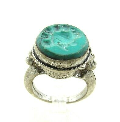 Authentic Post Medieval Era Silver Ring W/ Intaglio Stone Bust - J28