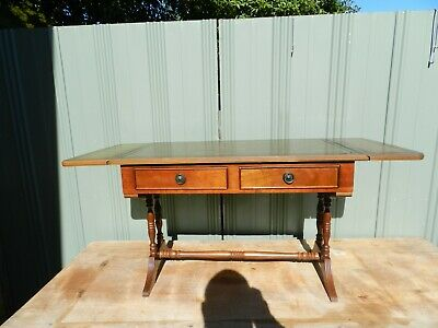 vintage extendable table(small) 2draws- leather top )