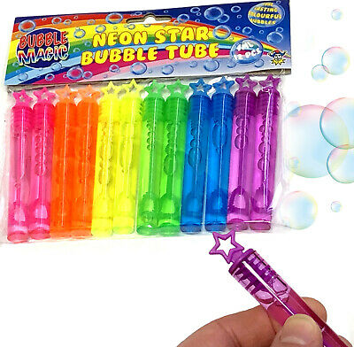24 x NEON STAR TUBE BUBBLES CHILDRENS TOY BOY GIRL BIRTHDAY PARTY BAG FILLERS