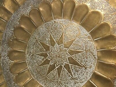 Beautiful Brass Plate With Inlay Pattern & Stamped