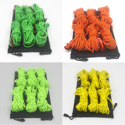 6 Reflective Tarp Tent Rope Guy Line Cord Outdoor Camping Hiking Durable
