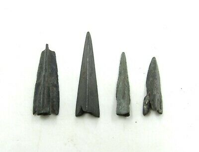 Authentic Lot Of 4 Ancient Scythian Bronze Arrow Heads - J38