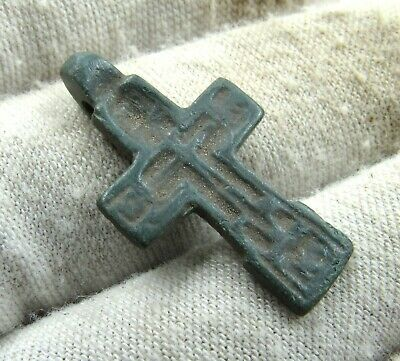 Authentic Late Medieval Era Bronze Cross Pendant - Wearable - J40