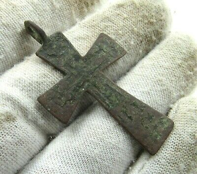 Authentic Late Medieval Era Bronze Cross Pendant - Wearable - J41