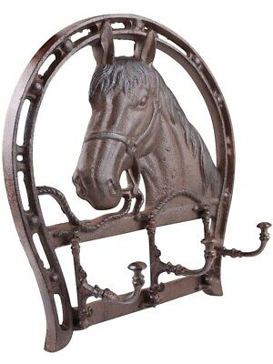 Rusted Vintage Horse Wall Coat Rack - Cast Iron 3 Moving Hooks