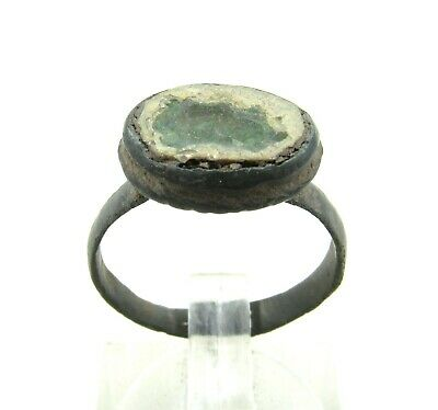 Authentic Late Medieval Tudor Bronze Ring W/ Glass - Wearable - J52