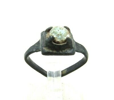 Authentic Late Medieval Tudor Bronze Ring W/ Stone In Bezel - Wearable - J53