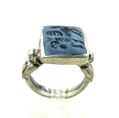 Authentic Post Medieval Silver Ring Lapis Lazuli Stone Intaglio W/ Pegasus J54