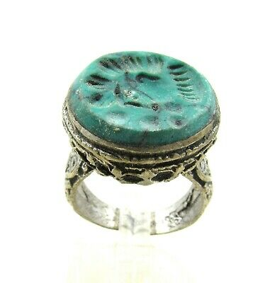 Authentic Post Medieval Era Silver Ring W/ Intaglio Stone Bust - J55