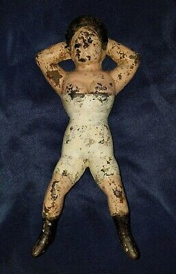 Early Antique Primitive Cast Iron Naughty Nellie Boot Jack Doorstop Old Paint!!!