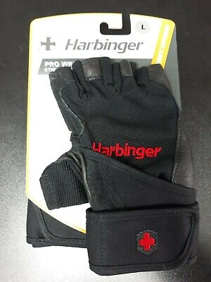 Harbinger Pro Wristwrap Strength Power Gloves L Heavy Lifting 114030 Black Pair