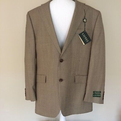 Mens Ralph Lauren Houndstooth 2 Button Silk Wool Sport Coat Blazer Size 42R $350