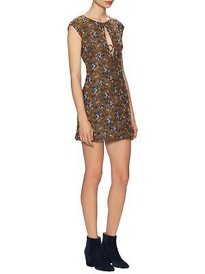 Free People Say Yes Floral Textured Jacquard Plunge Keyhole Dress Mustard M 10