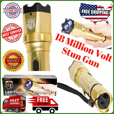 Gold 18 Million Volt Torch POLICE Flashlight Led Stun Gun Electric Shocker Metal