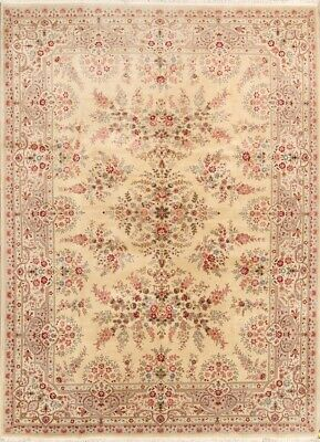 One-of-a-Kind Handmade Floral 9x12 Wool Tebriz Sino Chinese Oriental Area Rug