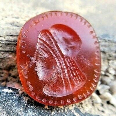 ANTIQUE Carnelian Roman Intaglio Side Face Woman w/ Embroidered Veil Stamp Stone