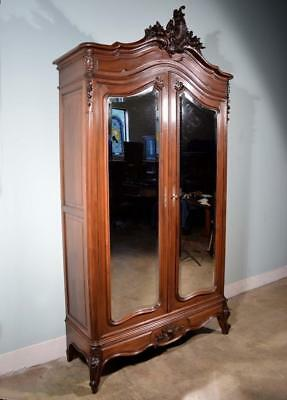 *Large Louis XV Antique French Armoire Wardrobe in Walnut w/Beveled Mirrors