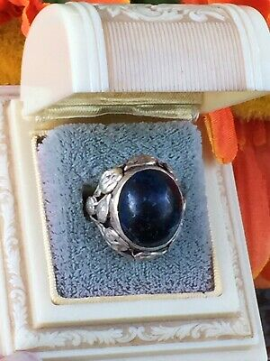 Arts & Crafts Sterling Silver Sodalite Stone Ring size 4 5.9g