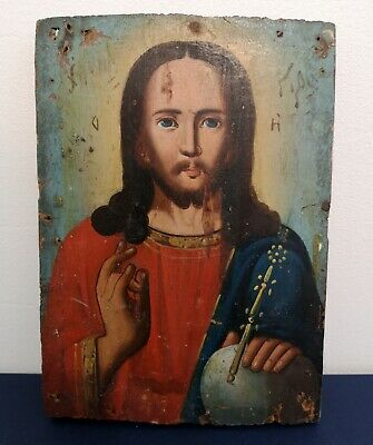Vintage old Russian icon on a wood, painted in oil